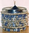 Silver and Blue Beaded Candleholder